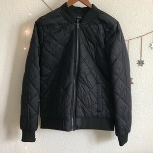 Forever 21 Black Quilted Bomber Jacket